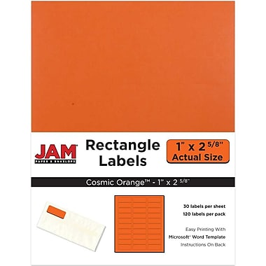 JAM Paper® Mailing Address Labels, 1 x 2 5/8, AstroBrights® Cosmic Orange, 120/pack (302725782)