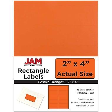 JAM Paper® Mailing Address Labels, 2 x 4, AstroBrights® Cosmic Orange, 120/pack (302725784)