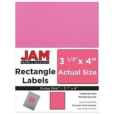 JAM Paper® Mailing Address Labels, 3 1/3 x 4, AstroBrights® Pulsar Pink, 120/pack (302725799)