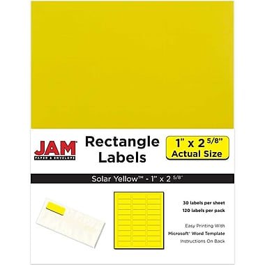 JAM Paper® Mailing Address Labels, 1 x 2 5/8, AstroBrights® Solar Yellow, 120/pack (302725801)