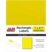 "Jam Paper 1"" x 2.63"" Inkjet/Laser Mailing Address Labels, Astrobright Solar Yellow, 4/Pack (302725801)"