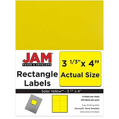 JAM Paper® Mailing Address Labels, 3 1/3 x 4, AstroBrights® Solar Yellow, 120/pack (302725803)