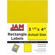 "Jam Paper 4"" x 3.33"" Inkjet/Laser Mailing Address Labels, Astrobright Solar Yellow, 12/Pack (302725803)"
