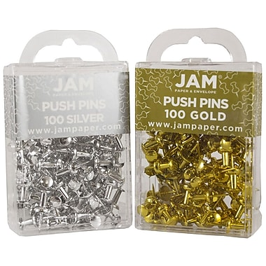 JAM Paper® Push Pins, Gold and Silver Pushpins, 100 of each color, 200/set (322419056)