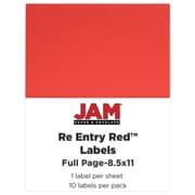JAM Paper® Full Page Labels, 8.5 x 11 Sticker Paper, AstroBrights® Re-Entry Red, 10/pack (337628603)