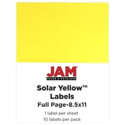 "JAM Paper 8.5"" x 11"" Full Page Labels, Astrobright Solar Yellow, 10/Pack"