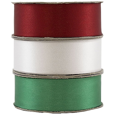 JAM Paper® Satin Ribbon, 7/8 Inch Wide x 7 Yards Christmas Trio Red/Green/White, Sold Individually (2133717011)