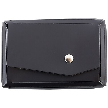 JAM Paper® Leather Business Card Case, Angular Flap, Black, Sold Individually (2233317460)