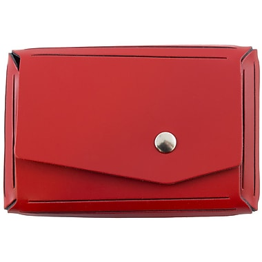 JAM Paper® Leather Business Card Case, Angular Flap, Red, Sold Individually (2233317461)