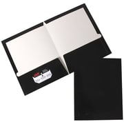 JAM Paper® 2 Pocket Laminated Glossy Presentation Folders, Black, 25/Pack (385GBLD)