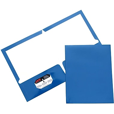 JAM Paper® Two Pocket Glossy Folder, Blue, Sold Individually