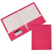 JAM Paper® Two Pocket Glossy Presentation Folder, Fuchsia Hot Pink, 50/Box (385Gfuc)
