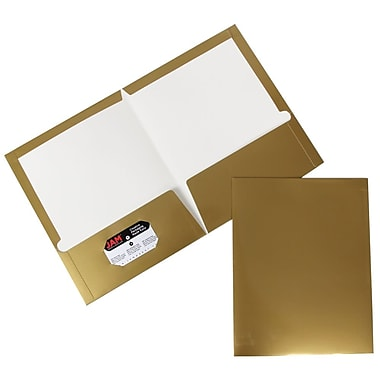 JAM Paper® Two Pocket Glossy Folder, Gold, 6/Pack