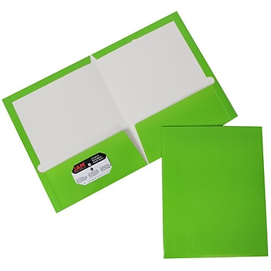 JAM Paper® Glossy Two Pocket Presentation Folder Lime Green, Sold Individually