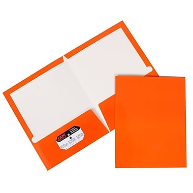 JAM Paper® Glossy Two Pocket Presentation Folders, Orange, 100/pack (385GORB)