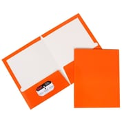 JAM Paper® Two Pocket Glossy Presentation Folder, Orange, 50/Box (385Gorc)