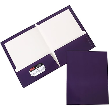 JAM Paper® Two Pocket Glossy Folder, Purple, 6/Pack