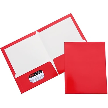 JAM Paper® Two Pocket Glossy Folder, Red, 100/Pack