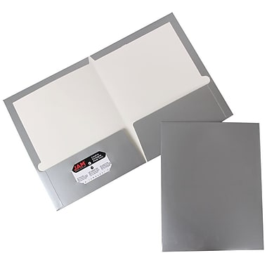 JAM Paper® Two Pocket Glossy Folder, Silver, 6/Pack