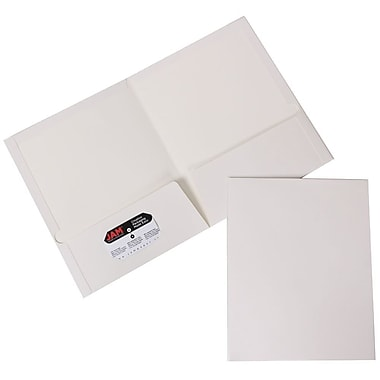 JAM Paper® Glossy Two Pocket Presentation Folders, White, 100/pack (385GWHB)