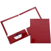 JAM Paper® Two Pocket Glossy Folder, Maroon, Sold Individually
