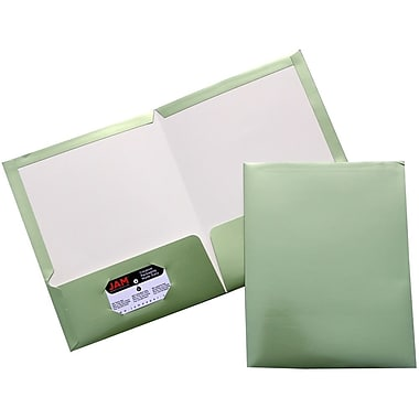 JAM Paper® Two Pocket Glossy Folder, Metallic Leaf Green, 100/Pack