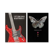 """Viabella, Butterfly and Guitar Birthday Asst, Birthday, 5"""" x 7"""", 2 Pack"""