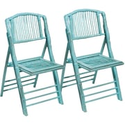 Kenian Coastal Chic Folding Dining Side Chair (Set of 2); Antique Turquoise
