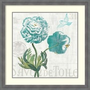 Amanti Art Floral Messages on Wood I Blue by Sue Schlabach Framed Painting Print