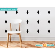 Sunny Decals Diamond Fabric Wall Decal (Set of 16); Black