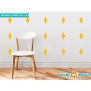 Sunny Decals Diamond Fabric Wall Decal (Set of 16); Yellow Orange
