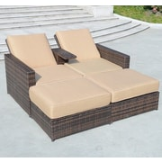 Outsunny 3 Piece Double Chaise Lounge with Cushions