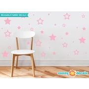 Sunny Decals Stars Fabric Wall Decal; Pink