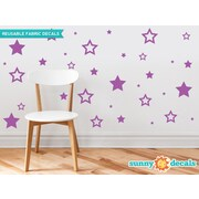 Sunny Decals Stars Fabric Wall Decal; Purple
