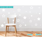 Sunny Decals 52 Piece Stars Fabric Wall Decal Set; White