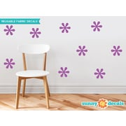 Sunny Decals Flower Fabric Wall Decal (Set of 9); Purple