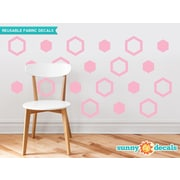Sunny Decals Hexagon Fabric Wall Decal (Set of 16); Pink