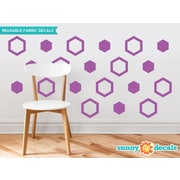 Sunny Decals Hexagon Fabric Wall Decal (Set of 16); Purple