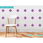 Sunny Decals Plus Sign Fabric Wall Decal (Set of 18); Purple