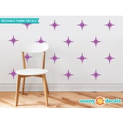 Sunny Decals Retro Stars Fabric Wall Decal (Set of 22); Purple