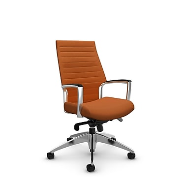 Global Accord High Back Knee Tilter, Imprint Paprika Fabric (Orange)