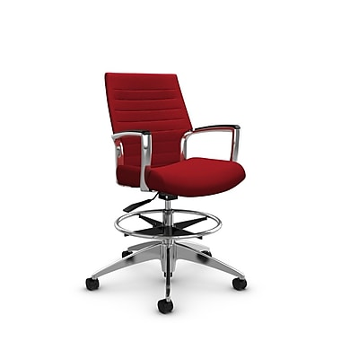 Global Accord Low Back Drafting Chair, Imprint Candy Apple Fabric (Red)