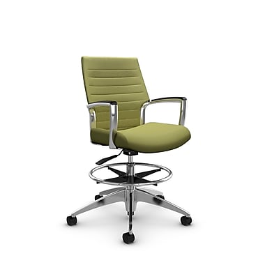Global Accord Low Back Drafting Chair, Imprint Celery Fabric (Green)