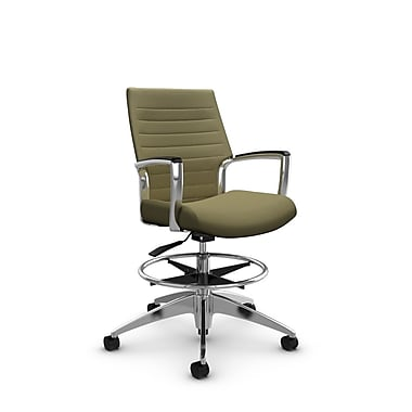 Global Accord Low Back Drafting Chair, Imprint Oregano Fabric (Green)