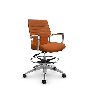 Global Accord Low Back Drafting Chair, Imprint Paprika Fabric (Orange)