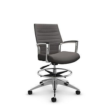 Global Accord Low Back Drafting Chair, Imprint Graphite Fabric (Grey)