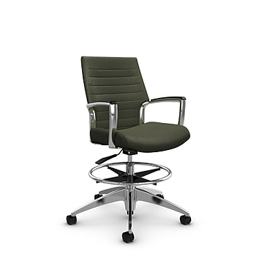 Global Accord Low Back Drafting Chair, Match Moss Fabric (Green)
