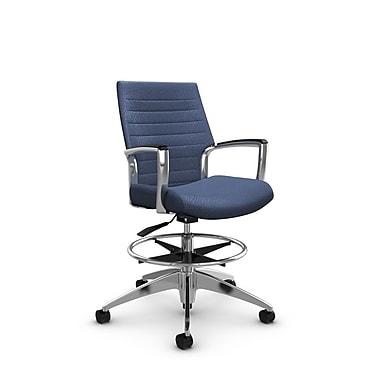 Global Accord Low Back Drafting Chair, Match Blue Fabric (Blue)