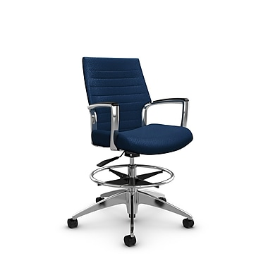 Global Accord Low Back Drafting Chair, Match Wave Fabric (Blue)