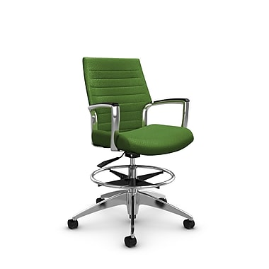 Global Accord Low Back Drafting Chair, Match Green Fabric (Green)